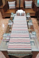 Bộ khăn trải, gối, lót cốc và đĩa kẻ - TH02