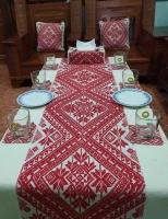 Bộ khăn trải, gối, lót cốc và đĩa hoa tuyết - TH01