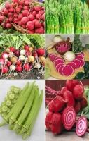 củ dền đỏ, măng tây xanh, củ cải đỏ, đậu bắp