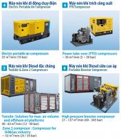 AtlasCopco_Máy nén khí di động Diesel: Đặc chủng, Siêu cao áp, Chạy điện, Trích công suất