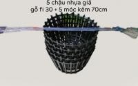 5 CHẬU NHỰA GIẢ GỖ TRỒNG LAN FI 30_NSX BÌNH THUẬN PLASTICS + 5 MÓC KẼM 70CM