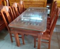 Bộ bàn ăn gỗ Xồi kiểu Rẻ Quạt
