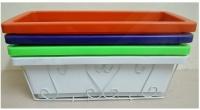 ComBo 5 GIỎ SẮT Treo Chậu Hoa Ban Công Hình Chữ Nhật - Màu Trắng + 5 CHẬU NHỰA TRỒNG RAU, TRỒNG HOA, CÂY CẢNH KÍCH THƯỚC 48X20X16CM