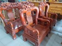 Bộ bàn ghế phòng khách gỗ Gõ Đỏ (tay 12cm) !!!