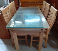 Bộ Bàn Ăn gỗ Xồi trắng (1 bàn và 6 ghế)