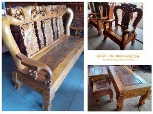 Bộ bàn ghế gỗ Lát (tay 12cm) sang trọng và truyền thống cho phòng khách gia đình!
