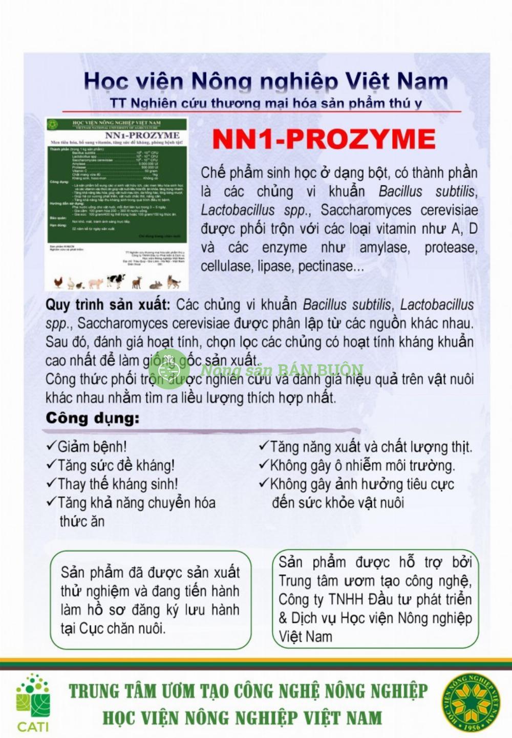 Chế phẩm NN1-Proyme sử dụng trong phòng và trị bệnh cho vật nuôi