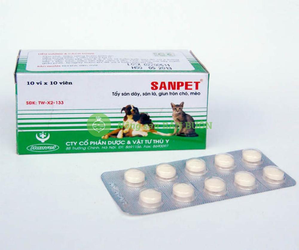 Sanpet - Tẩy sán dây, sán lá, giun tròn chó, mèo.