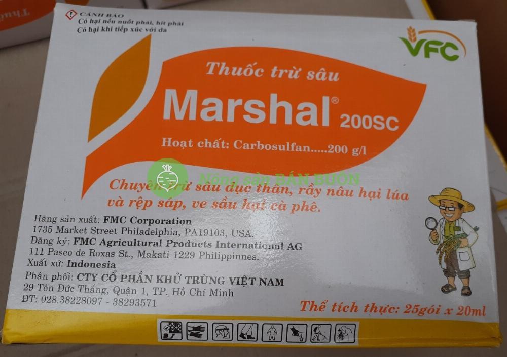 Chế phẩm trừ sâu Marshal 200SC (hộp 25gói x 20ml/gói)- Chuyên trị sâu đục thân, rầy nâu hại lúa và rệp sáp!