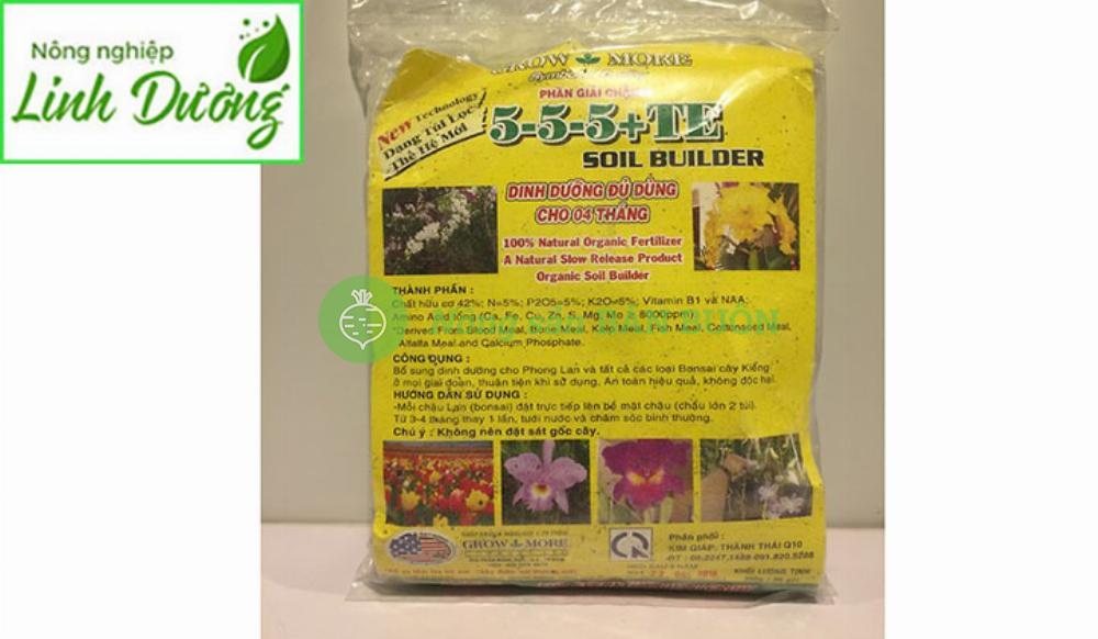 Phân Tan Chậm Hữu Cơ Growmore 5-5-5  (36 gói, tổng TL 400g)