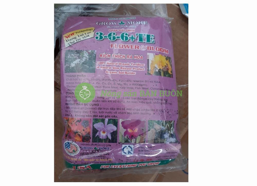 Phân bón hữu cơ Grow-More 3-6-6+TE (KL: 400g/36gói)