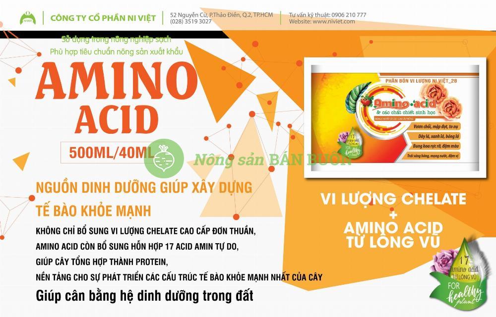 AMINO ACID HỮU CƠ dạng lỏng tổng hợp 17 loại amino acid thiết yếu dùng phát rễ, tăng hấp thu vi lượng, kích thích tăng trưởng, cân bằng hệ vi sinh vật đất, tăng độ ngọt quả