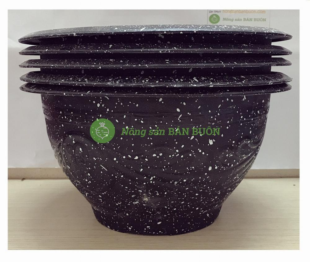 5 Chậu Nhựa Trồng Hoa, Cây Cảnh Giả Đá Đen Trường Hải T28