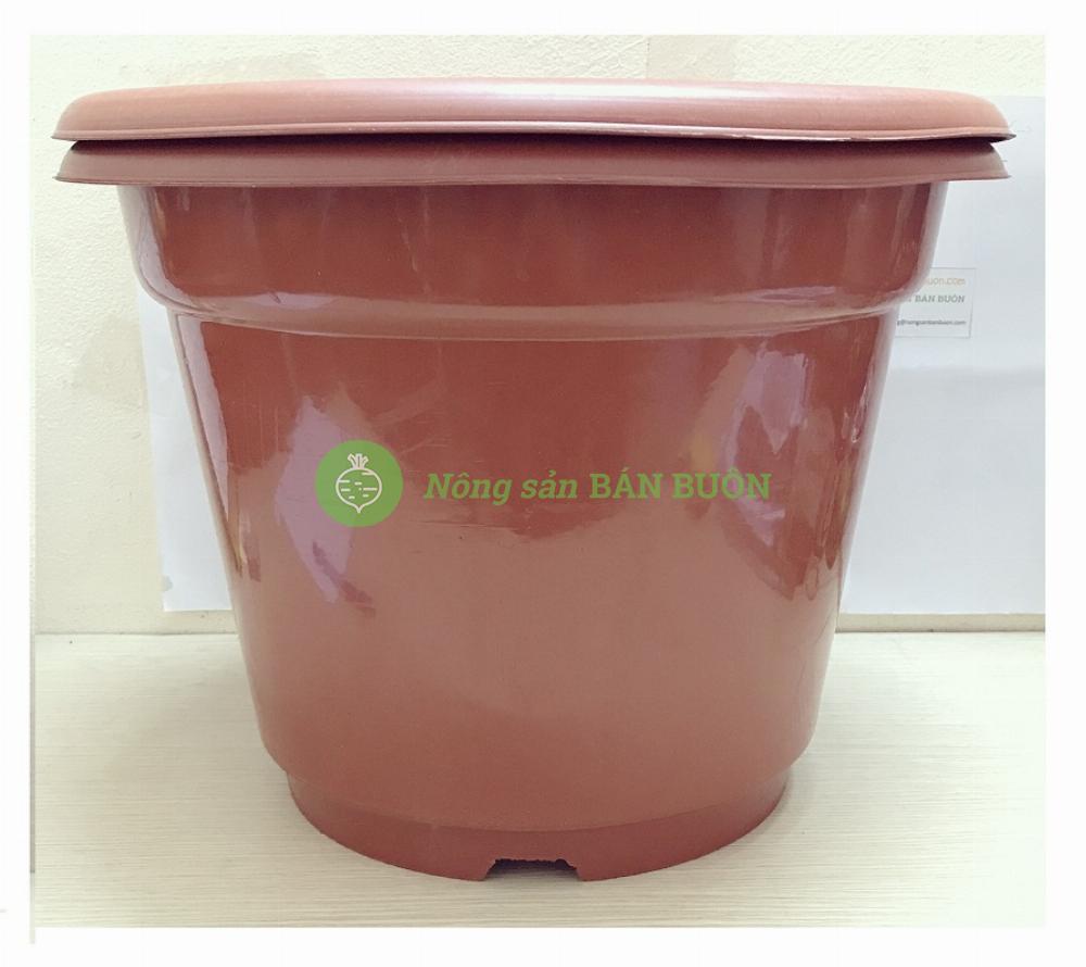 2 Chậu Nhựa Trồng Hoa Cây Cảnh Tròn Đỏ AB450 CN