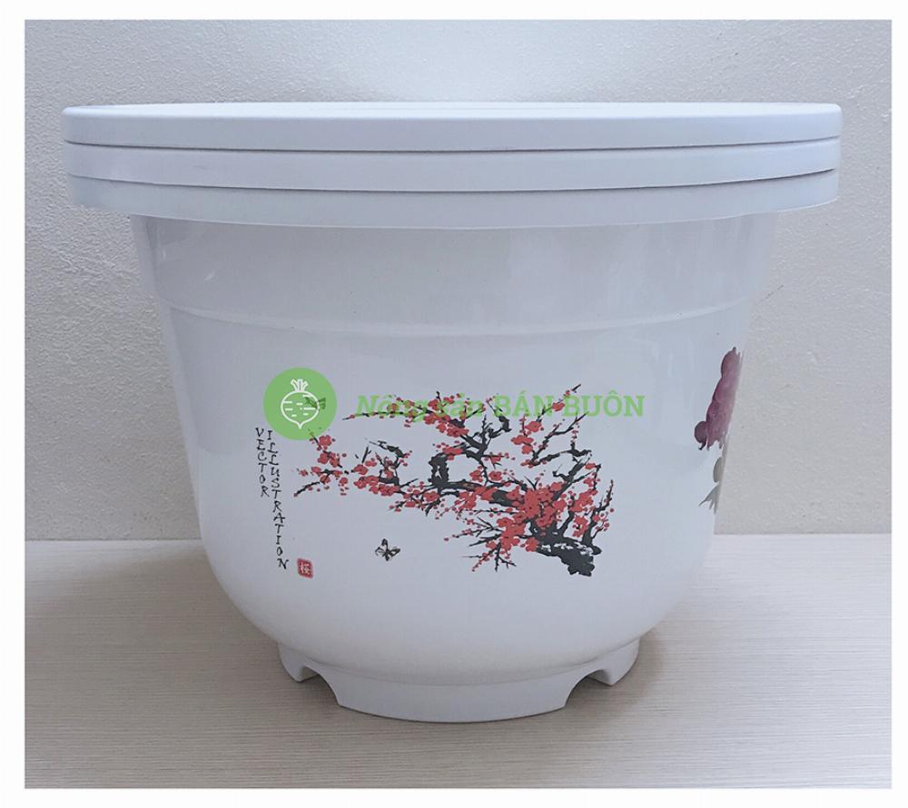 3 Chậu Nhựa BỐN MÙA A410 Đức Minh Hình Tròn Màu Trắng Trồng Hoa, Cây Cảnh Kích Thước: 35x24,5 (ĐK Miệng x Cao) Cm