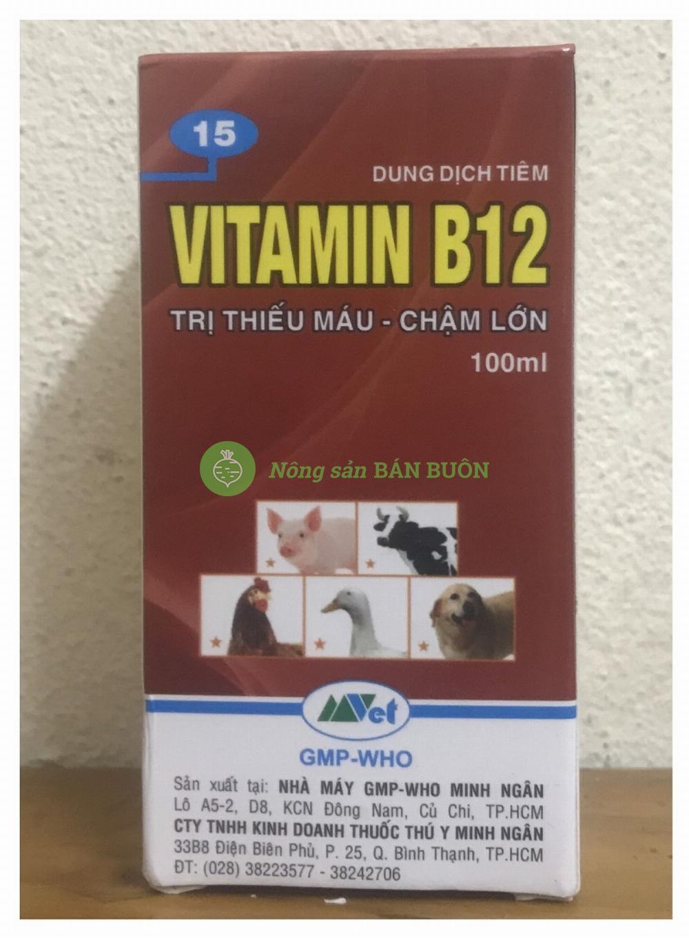 Vitamin B12 hộp 100ml - Trị thiếu máu, chậm lớn cho động vật, Giải độc cho cây !